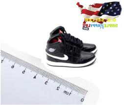 "1/6 male BLACK sneakers basketball AJ shoes 12"" hot toys phi"