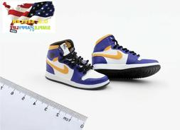 "1/6 male sneakers basketball Purple shoes 12"" phicen enterba"