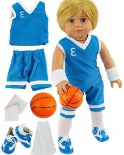 7 Piece Blue Basketball Outfit w/Ball & Shoes Fits American