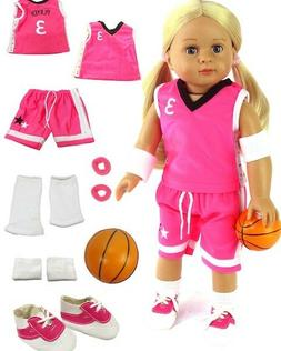7 Piece Pink Basketball Outfit w/Ball & Shoes Fits American