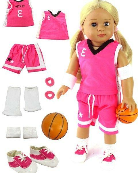 7 piece pink basketball outfit w ball