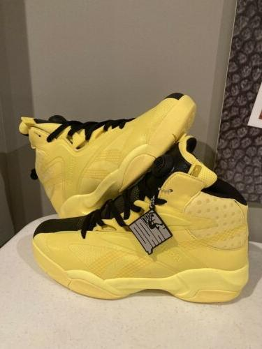 pump shaq attaq modern basketball shoes yellow