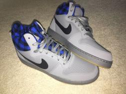 New Nike Court Borough Mid Gray Blue Plaid Men's Size 10 B