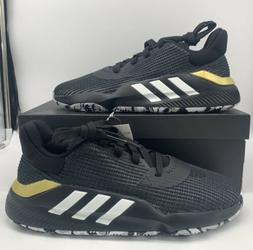 Adidas Pro Bounce 2019 Low Basketball Shoes Black White Gold